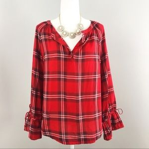 Talbots Red Plaid Blouse